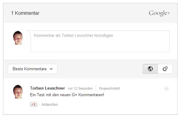 Google+ Kommentare in Aktion auf einem Testprojekt